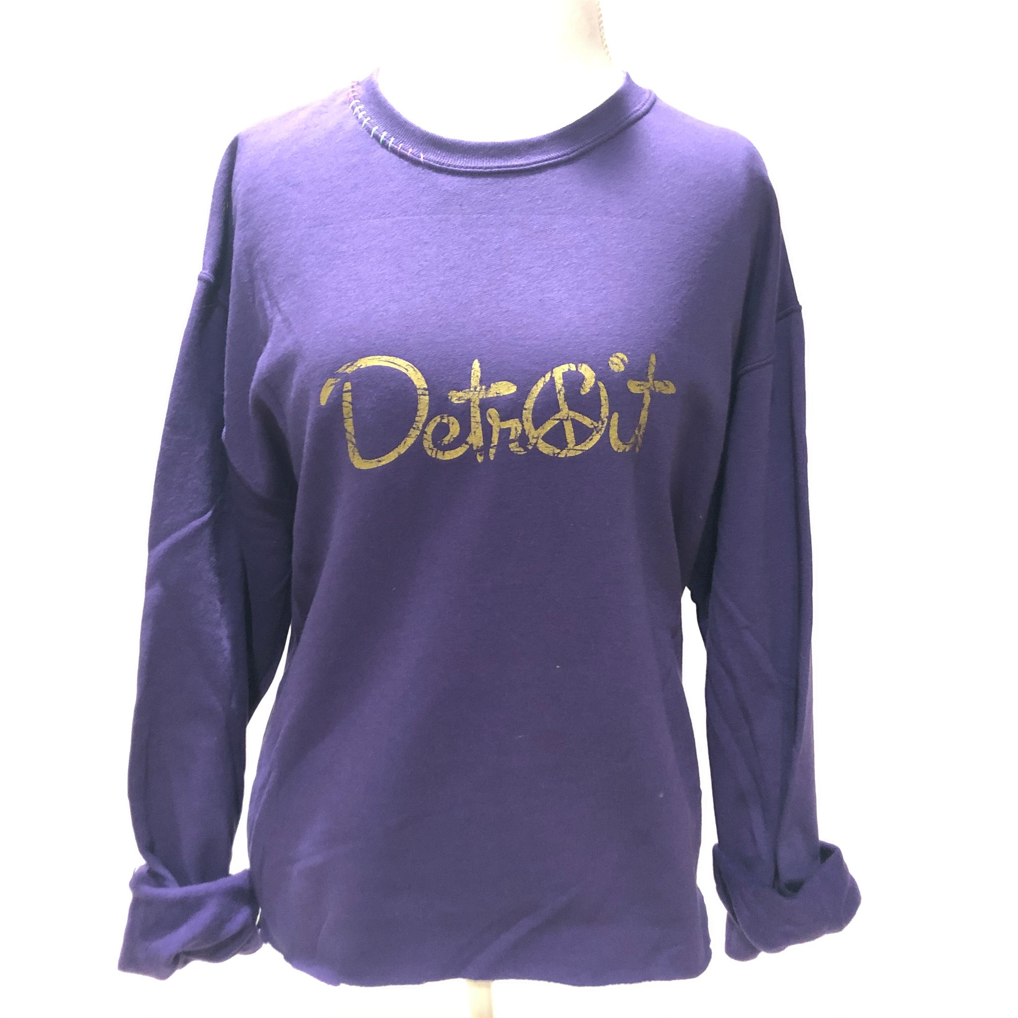 Purple Oversize Crop Peace Detroit sweatshirt