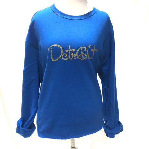 Blue Oversize Crop Peace Detroit sweatshirt