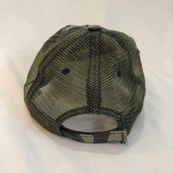 Camo Peace Detroit distressed trucker hat