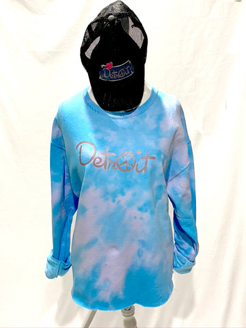 Purple/Blue Tie Dye Oversize Crop Peace Detroit distressed sweatshirt