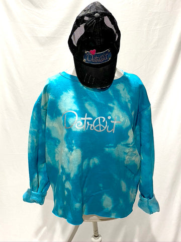 Turquoise Tie Dye Oversize Crop Peace Detroit distressed sweatshirt