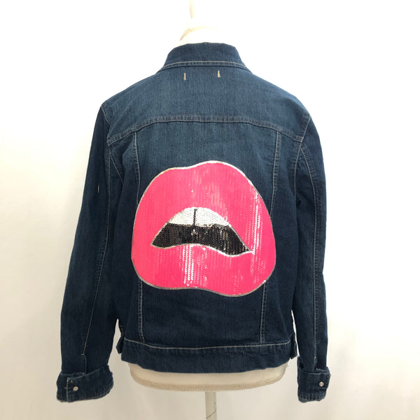 Upcycled Pink Lips denim jacket