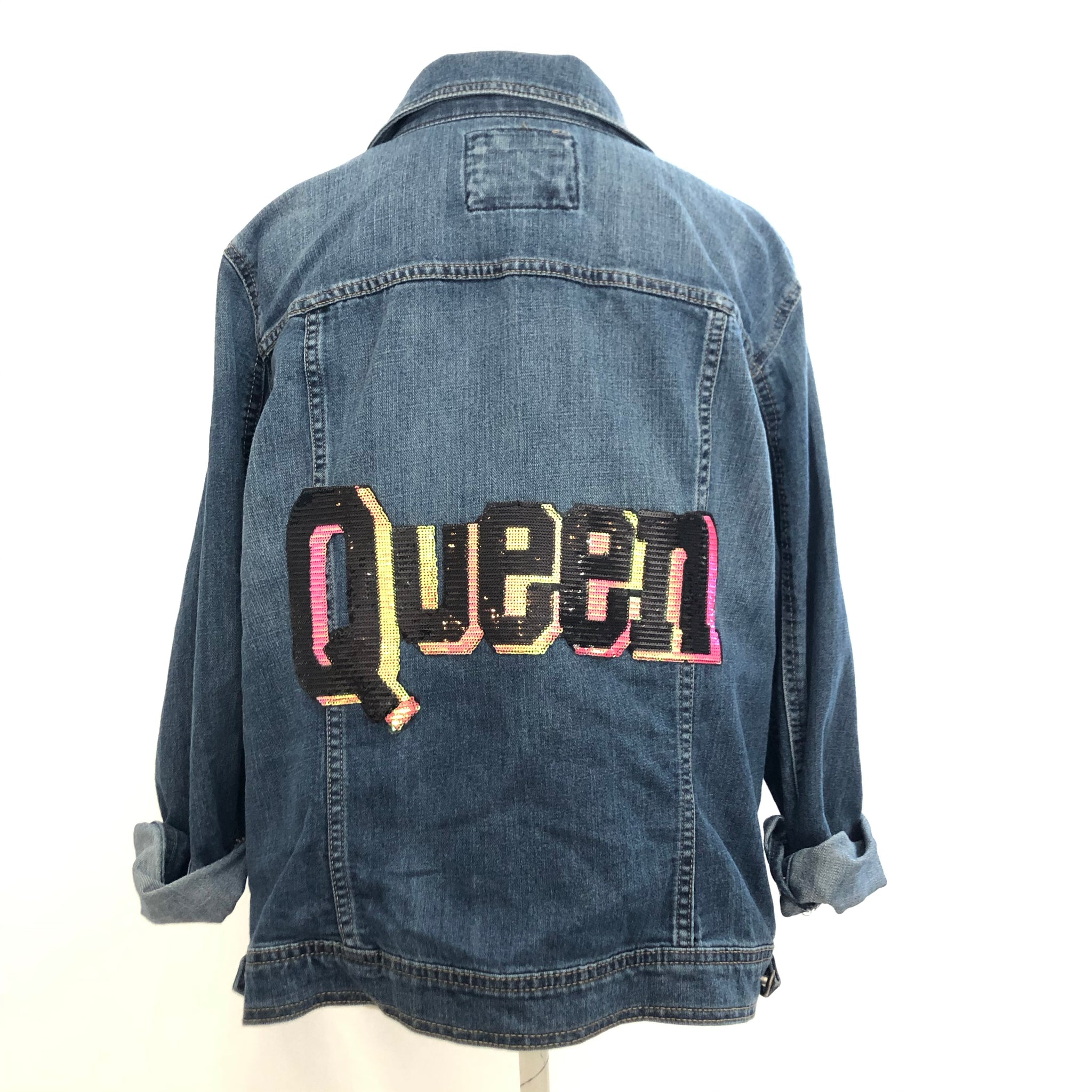 QUEEN distressed denim jacket