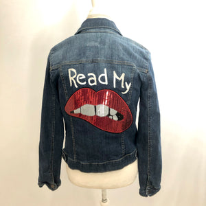 Read My Lips upcycled denim jacket