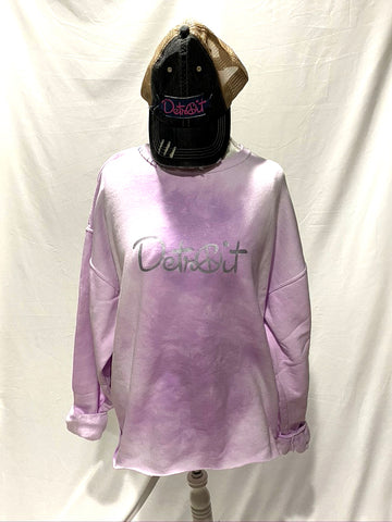 Purple Tie Dye Oversize Crop Peace Detroit distressed sweatshirt