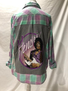 Adult upcycled Jimi Hendrix flannel size L