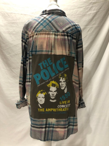 Adult upcycled Police flannel size XL
