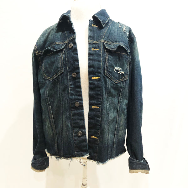 Upcycled Punk distressed denim jacket