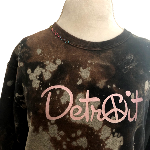 Oversize Crop Peace Detroit distressed sweatshirt