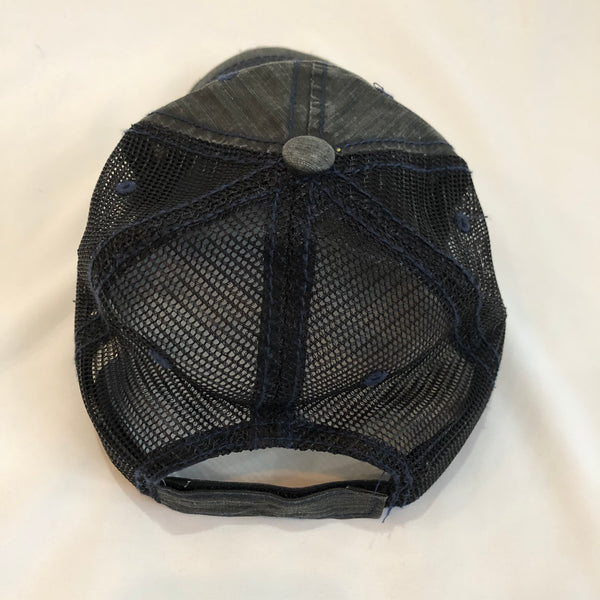 Navy Peace Detroit distressed trucker hat