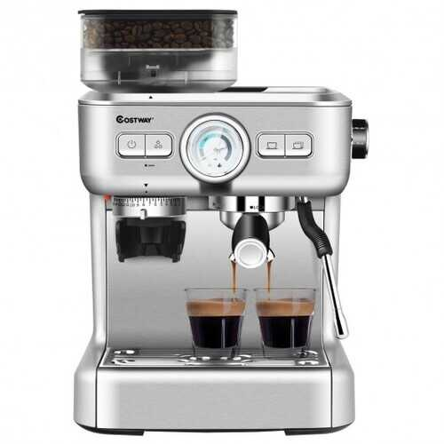 15 Bar Espresso Coffee Maker 2 Cup /w Built-in Steamer Frother and Bean Grinder