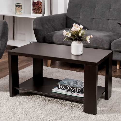 Rectangular Cocktail Coffee Table with Storage Shelf