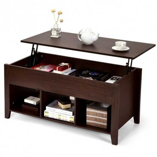 Lift Top Coffee Table with Storage Lower Shelf-Brown