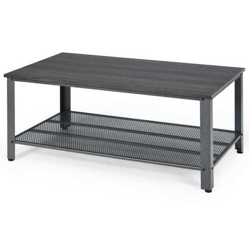 Metal Frame Wood Coffee Table Console Table with Storage Shelf-Black
