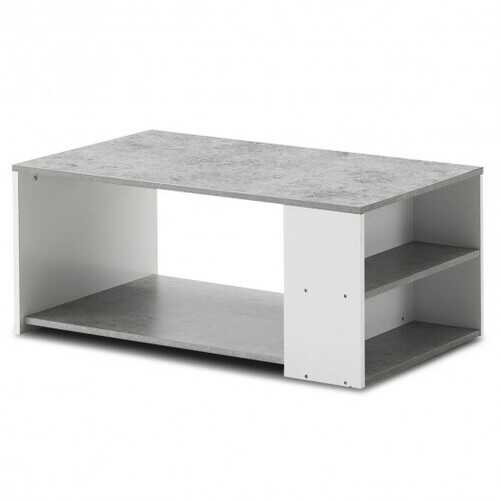 Coffee Table Sofa Side Table with Storage Shelves -Gray