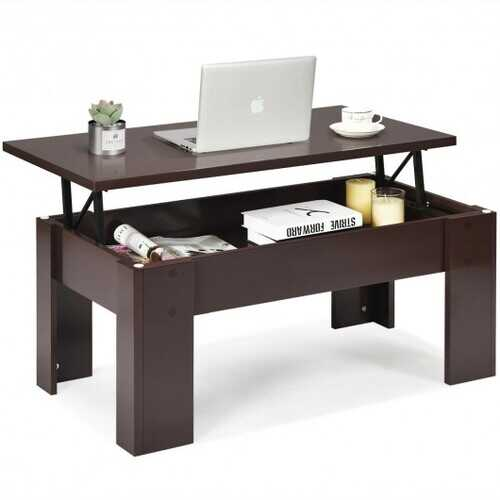 Lift Top Coffee Pop-UP Cocktail Table-Brown