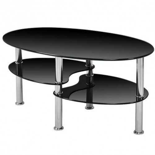 Tempered Glass Oval Side Coffee Table-Black