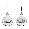 Silver Double Hammered Disc Drop Earrings