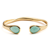 Azuni Gold and Aqua Chalcedony Cuff Bangle