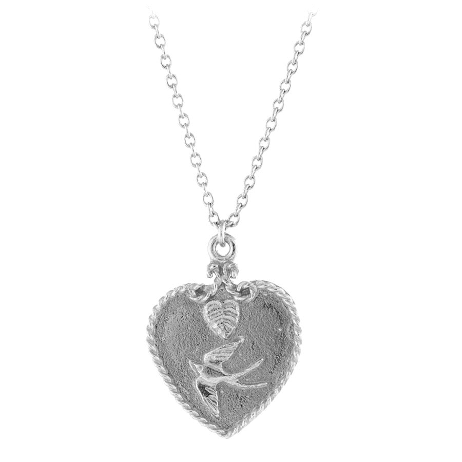 Alex Monroe Sale - Alex Monroe Silver Swallow Heart Necklace - Designer Necklaces - Silverado
