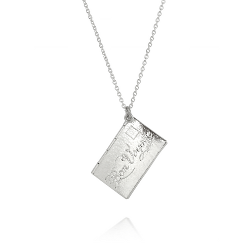 Alex Monroe Silver Bon Voyage Envelope Necklace