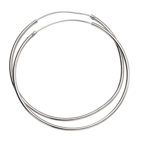 Sterling Silver - 50mm Silver Hoop - Earrings - Silverado