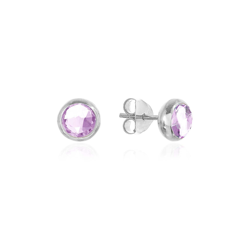Rodgers and Rodgers Silver Birthstone Stud Earrings - February