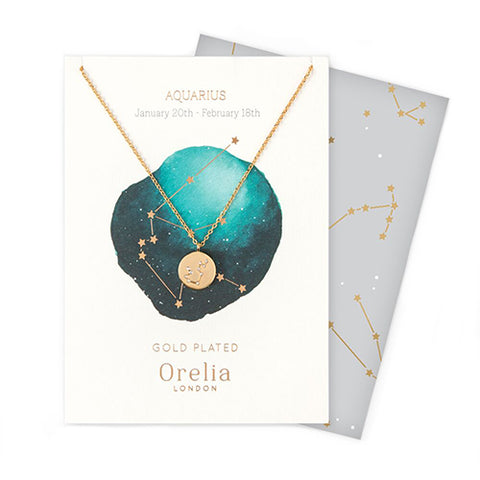 Orelia Constellation Disc Necklace - Aquarius