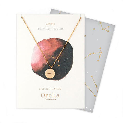 Orelia Constellation Disc Necklace - Aries