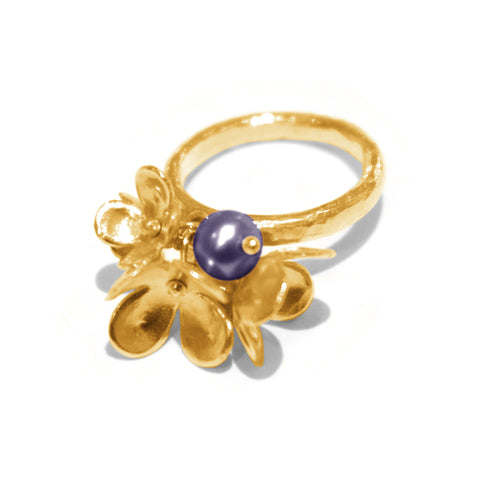 Alexis Dove Blossom and Pearl Ring - Dark Pearl