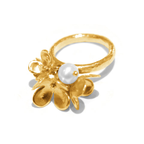 Alexis Dove Blossom and Pearl Ring - White Pearl
