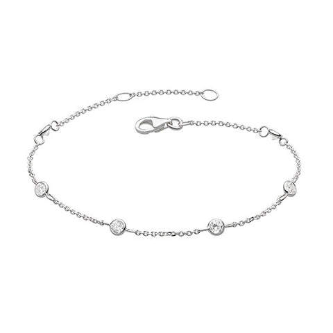 Silver and Cubic Zirconia Ditsy Bracelet