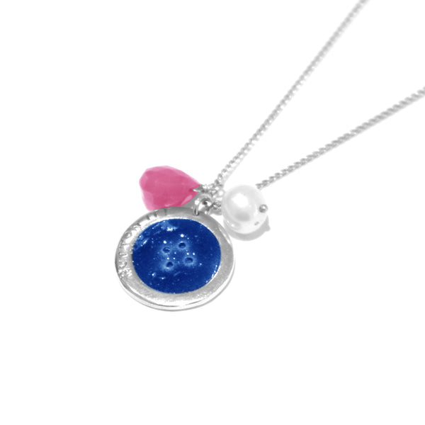 Becca - Becca Blue Enamel Button Necklace - Designer Necklaces - Silverado