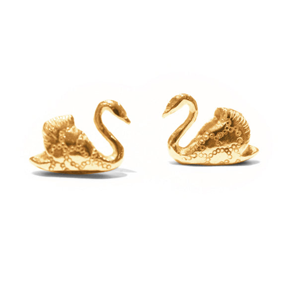 Bark - Bark Swan Earrings - Designer Earrings - Silverado