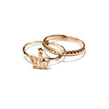 Bark - Bark Gold Crown Ring Set - Designer Rings - Silverado