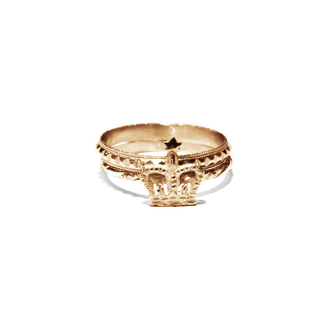 Bark Gold Crown Ring Set