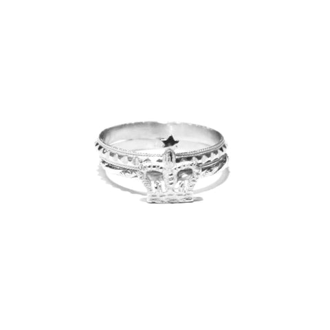 Bark Silver Crown Ring Set