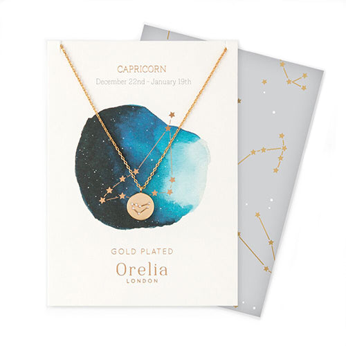 Orelia Constellation Disc Necklace - Capricorn