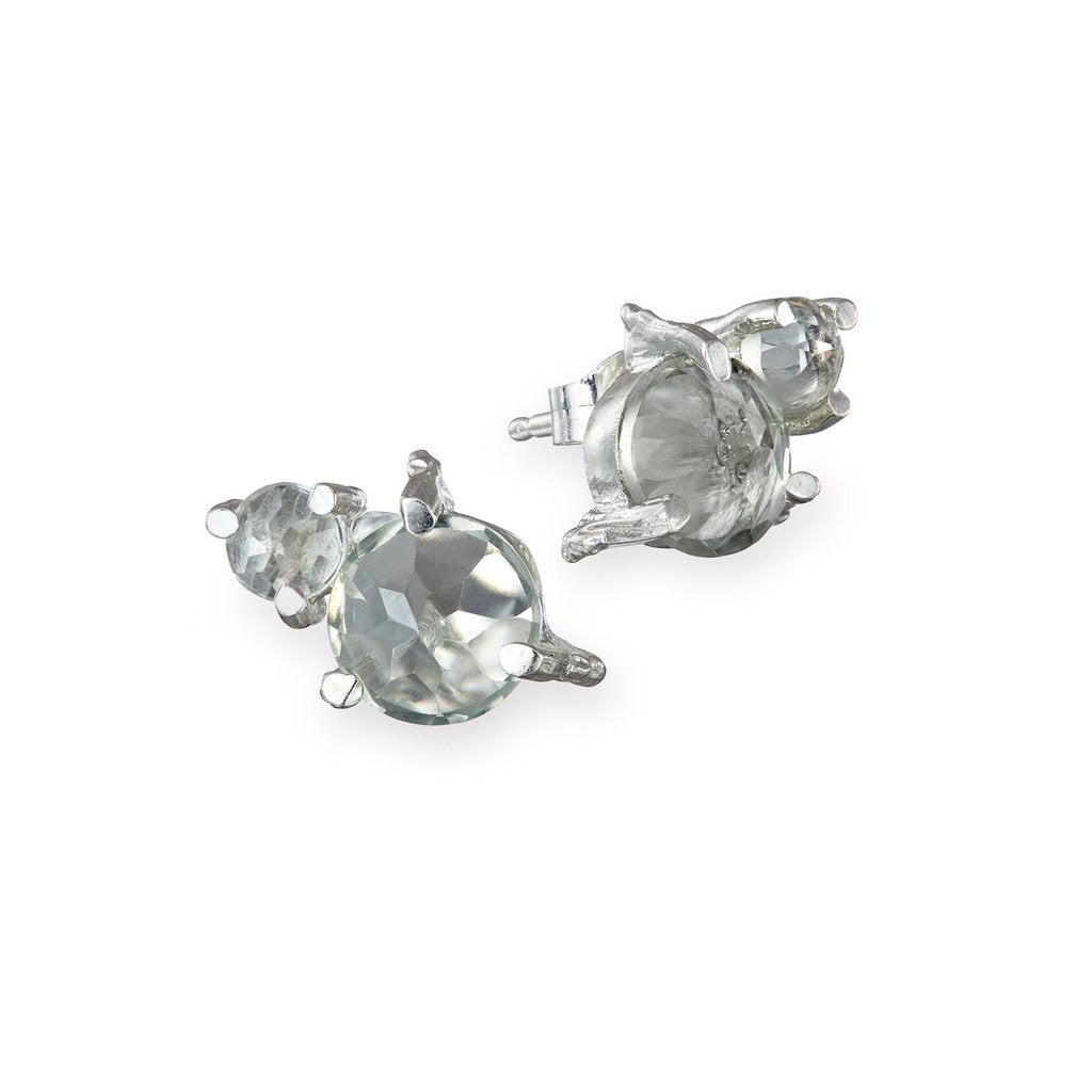 Chupi - Chupi 'Twinkle In The Wild' Prasiolite Stud Earrings - Silverado - Designer Earrings