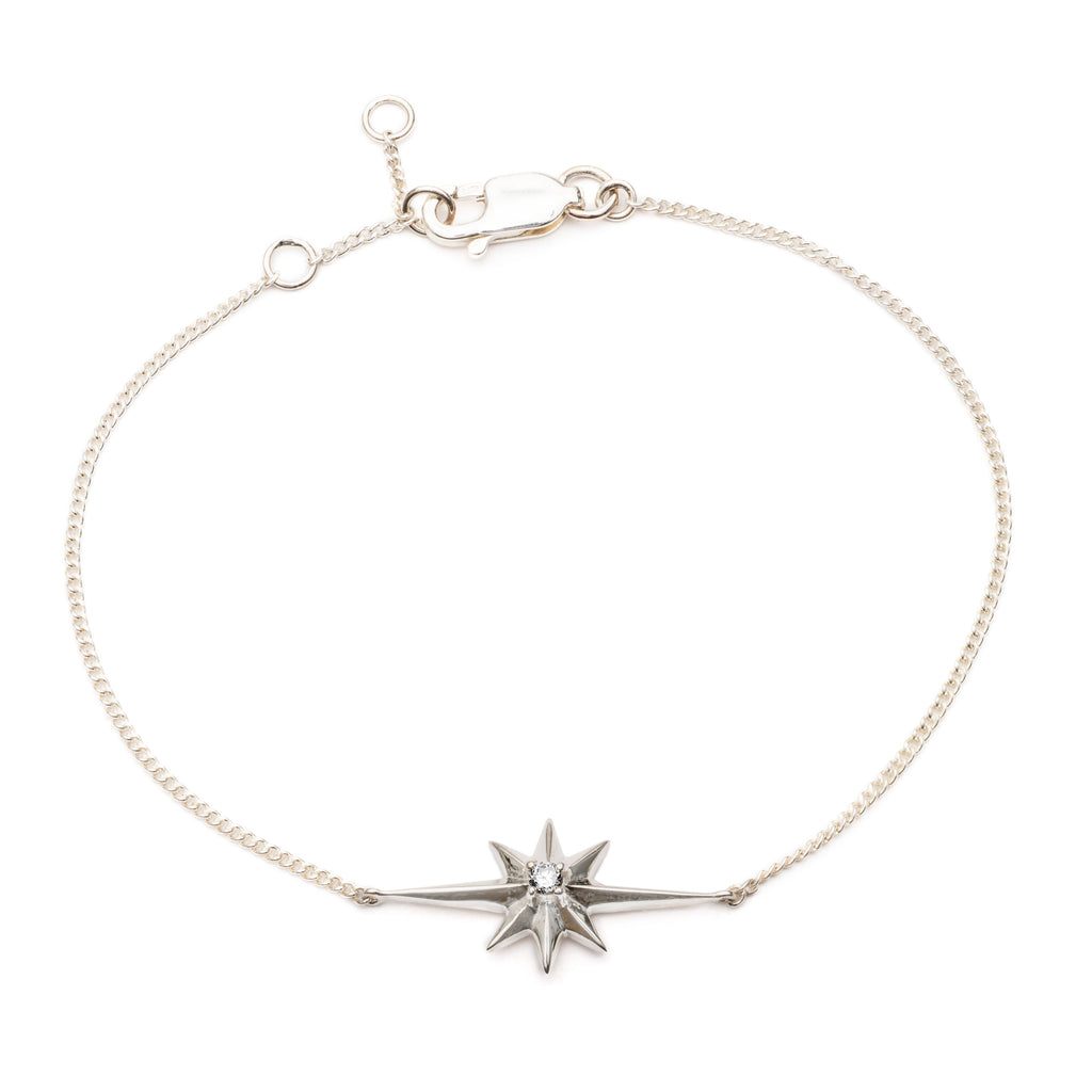 Rachel Jackson Silver Shooting Star And Diamond Bracelet