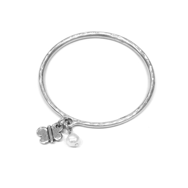 Danon - Butterfly and Pearl Bangle - Designer Bracelets - Silverado