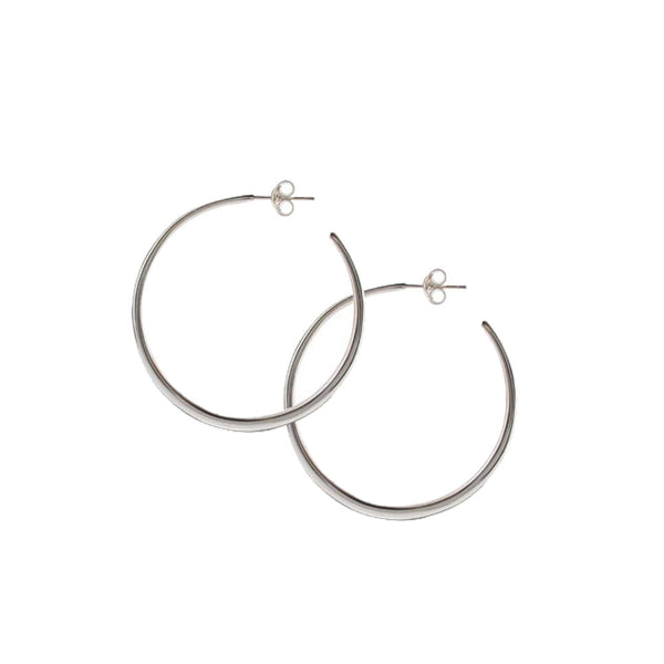 Dinny Hall - Dinny Hall Silver Medium Tapering Hoops - Designer Earrings - Silverado