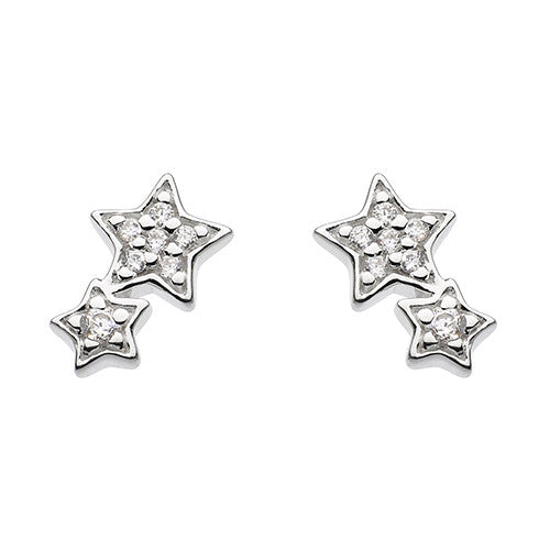Sterling Silver - Sparkly Double Star Studs - Silver Earrings - Silverado