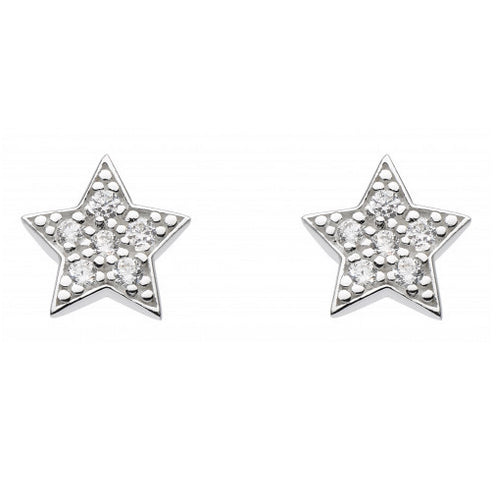 Sterling Silver - Sparkly Star Studs - Silver Earrings - Silverado