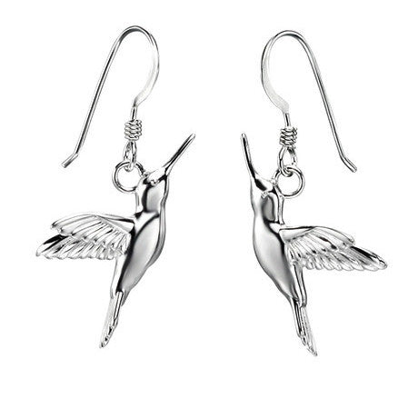 Sterling Silver - Hummingbird Earrings - Silver Drops - Silverado