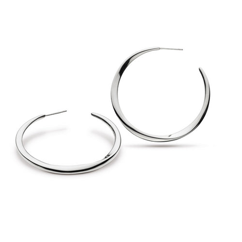 Kit Heath - Kit Heath Large Bevel Curve Hoop Earrings - Designer Earrings - Silverado