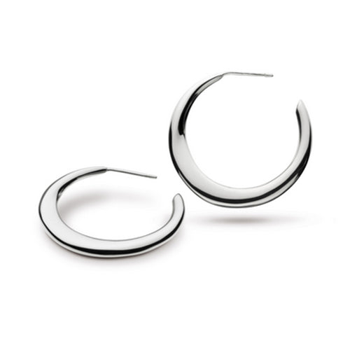 Kit Heath - Kit Heath Bevel Curve Hoop Earrings - Designer Earrings - Silverado