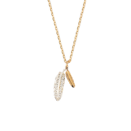 Orelia Double Feather Ditsy Necklace