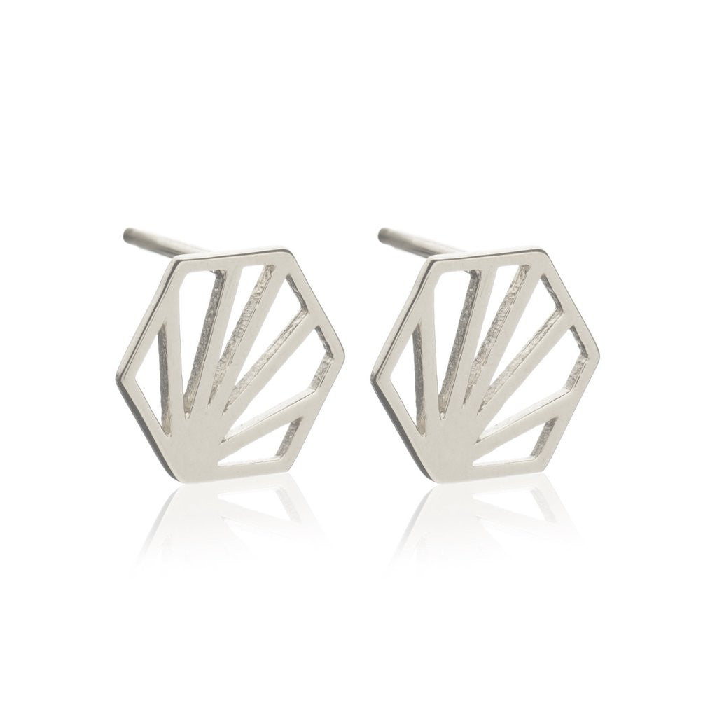 Rachel Jackson - Rachel Jackson Silver Hexagon Studs - Silverado - Designer Earrings