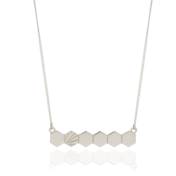 Rachel Jackson Silver Hexagon Bar Necklace